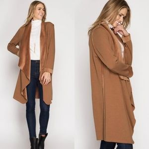 Jackets & Blazers - Casual Camel waterfall jacket cardigan
